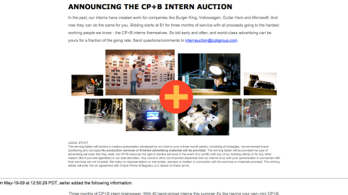 CP+B Intern Auction