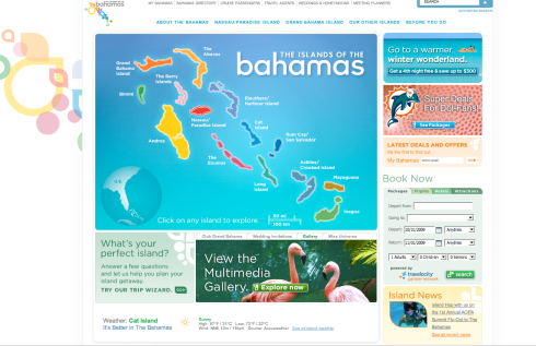 Bahamas.com Homepage with end of flash intro