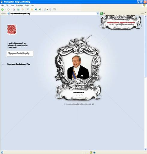 The Colonial Williamsburg Loyalist homepage featuring King George
