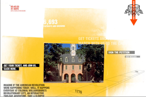 Users can see picures of Colonial Williamsburg
