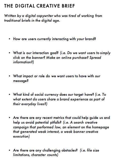 how to write a creative brief for a project